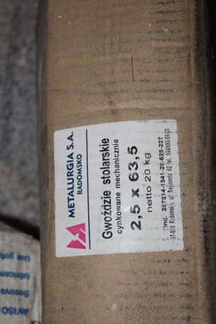 Gwoździe stolarskie ocynkowane 2,5x63,5 TANIO! Paczka 20 kg!