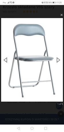 Krzesło składane jysk vig szare 4 sztuki