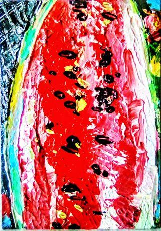 "Картина миниатюра ""Арбуз"", масло, 14*20см, оргалит"