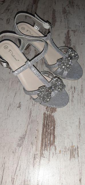 sandały srebrne