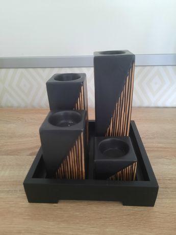 Conjunto porta-velas em cerâmica