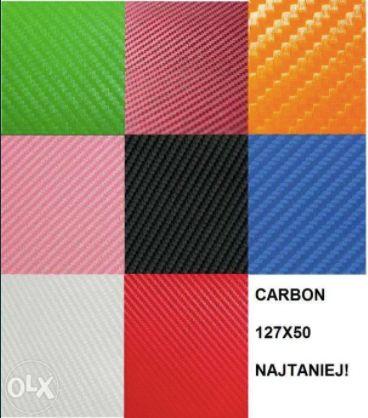 3D CARBON FOLIA 127X50 okleina czarny zielony różowy bordowy pomarańcz