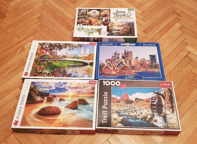 Puzzle Trefl zestaw zbiór 5 opakowań 1000 i 1500 elementów