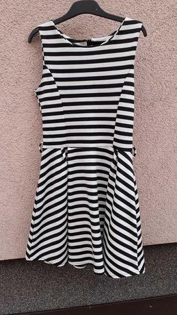 Sukienka krótka styl marynarski czarno białe paski 36/38