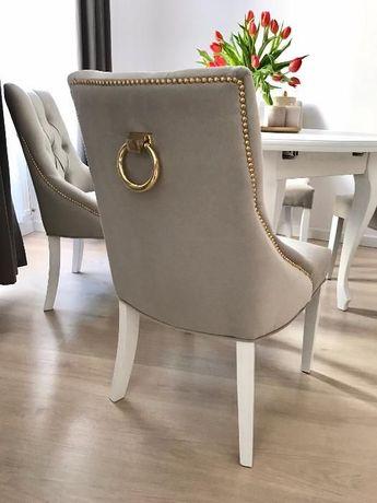 Krzesło z kołatką pikowane z pinezkami producent nowe tapicerowane