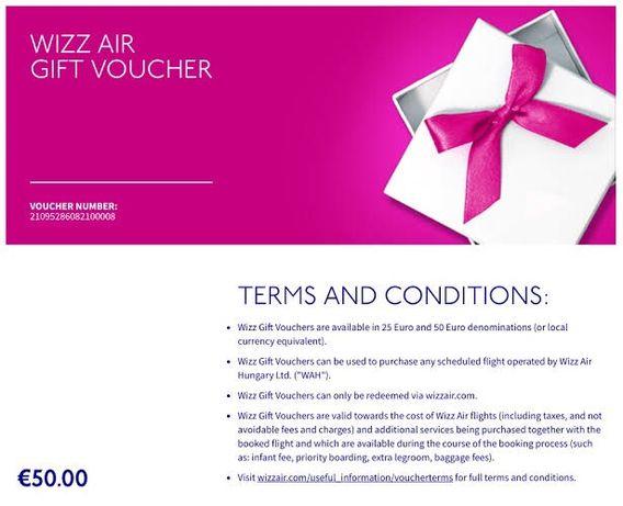 Подарочный ваучер на перелет Wizzair на 50€ (wizz air, купон, скидка)