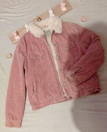 Casaco rosa de bombazina
