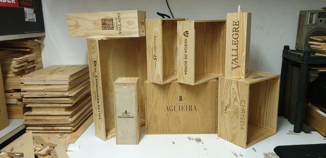 Caixas de madeira de vinho