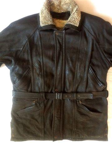 Зимняя кожаная куртка, съемная подстежка на овчине ХХХL