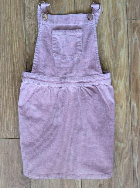 Sztruksowa sukienka na szelkach 116cm
