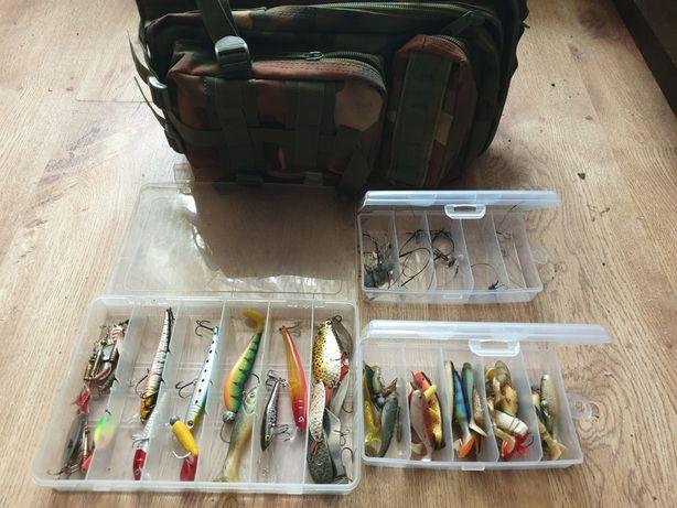 Spiningowania zestaw(przynety ok 60 szt pudełka )