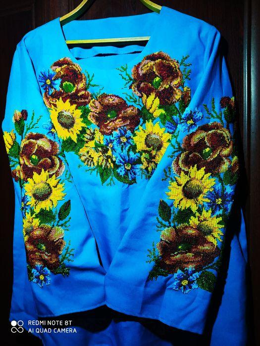 Рубашка/блузка вышитая чешским бисером (ручная работа) Плоское - изображение 1