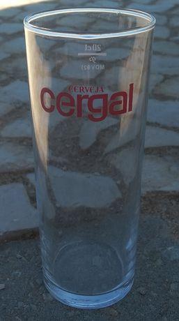 Copo de vidro raro da cerveja Portuguesa Cergal