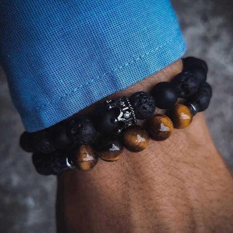 Мужские браслеты из натуральных камней, каменные браслеты с Короной