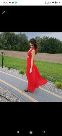 Czerwona sukienka 34 długa