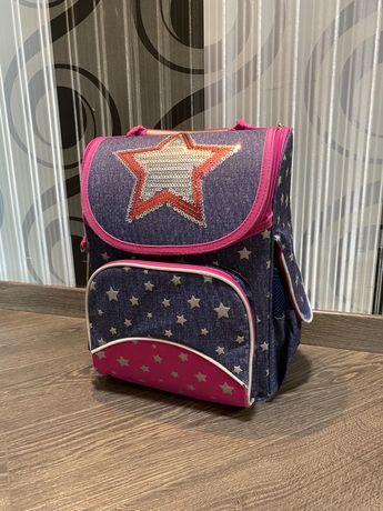 Каркасный ортопедический рюкзак Yes портфель со звездами и пайетками
