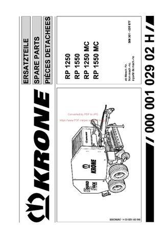 Katalog części prasa KRONE KR 1250 do 1550
