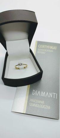 Złoty pierścionek z brylantami 0,28ct SI/H