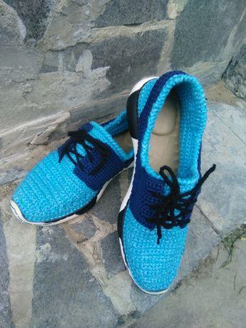 Кроссовки, мокасины ( вязаная обувь), ручная работа