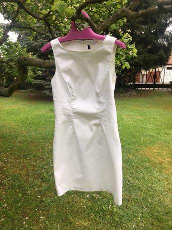 Biała elegancka sukienka Benetton r. 36 S Komunia przyjęcie
