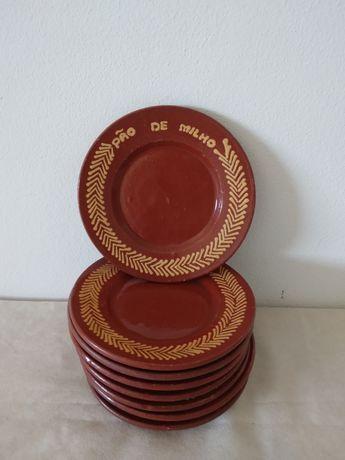 8 pratos barro vermelho para pão, com 16cm diametro