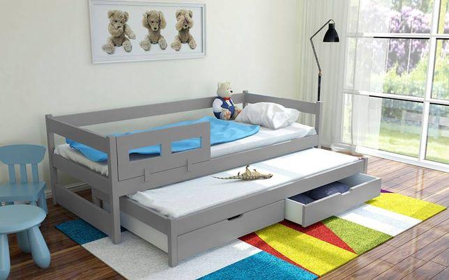 Dwuosobowe łóżko drewniane Alan z szufladami oraz materacami!