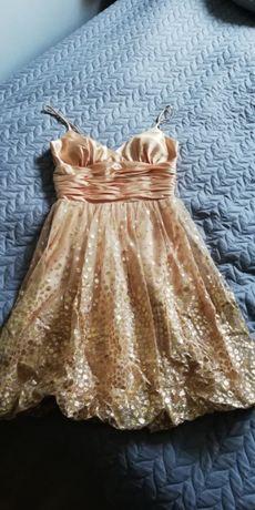 Piękna złota, oryginalna suknia