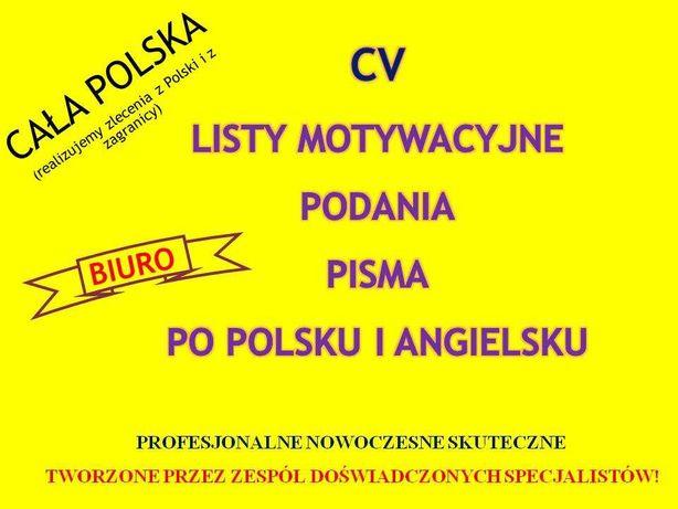 CV * Listy Motywacyjne Tworzenie, korekta. Pol Angielskie 24h/7d