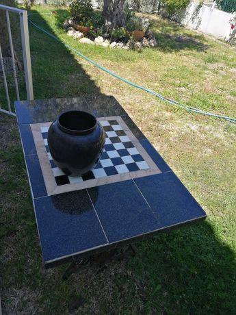 Mesa de apoio / aparador / consola de pedra e pés máquina singer
