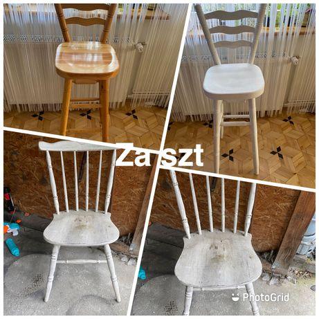 hoker  krzeslo z drewna 3 sztuki