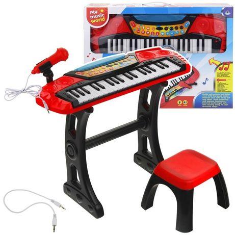 Keyboard Pianino Organy Mikrofon Stołek Czerwony