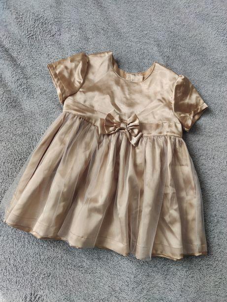 H&M złota sukienka okolicznościowa 74 dla dziewczynki niemowlęca tiulo