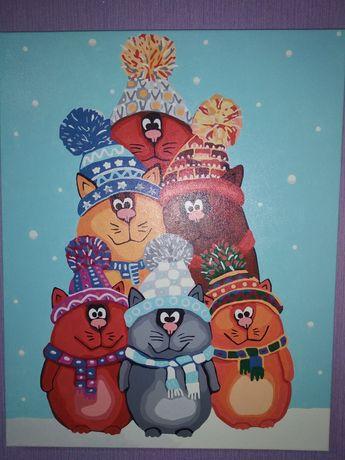 Идейка готовая картина по номерам котики веселые пушистики коты зима