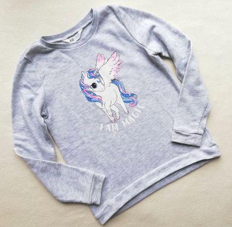 H&M - bluza dresowa z jednorożcem, z koniem, konikiem - 134-140