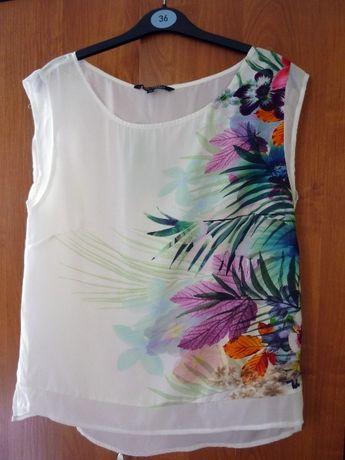 Nowa bluzka top secret biała kolorowe kwiaty