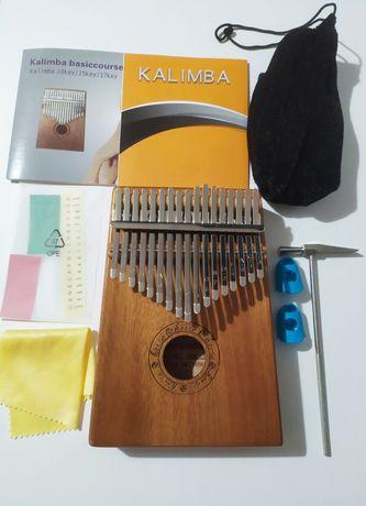 ZESTAW Kalimba 17 tonowa drewniana mahoń JAK NOWA
