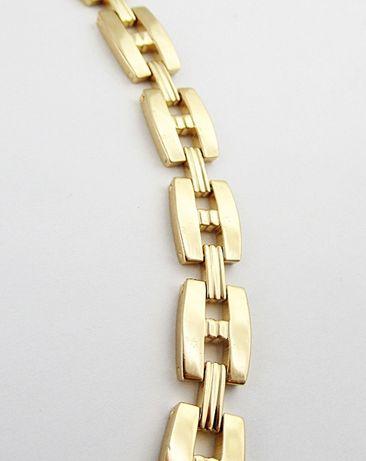 Damska bransoletka szeroka stal nierdzewna złota ogniwa H BSt567