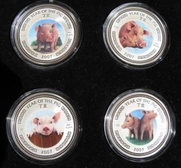 цветные серебряные монеты год свиньи 4 шт. Новая зеландия