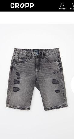 Szorty spodenki jeansowe męskie z przetarciami Cropp L