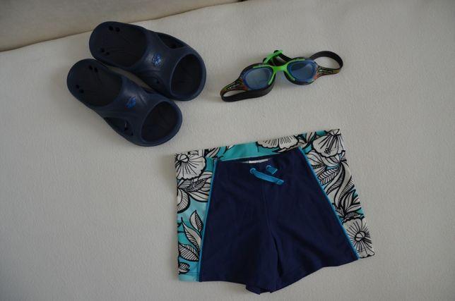 Zestaw na basen klapki 33 kąpielówki H&M okulary do pływania 6 7 8 lat