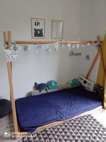 Drewniane łóżko tipi domek 90x200 + materac Dreamzone