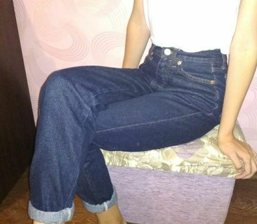 Mom джинсы момы мом  свободные синие прямые трубы