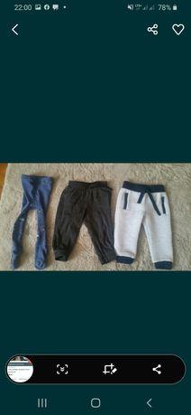 Dwie pary spodni i rajstopy 80
