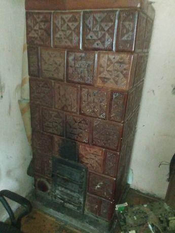 Ręcznie zdobiony piec kaflowy zabytkowy