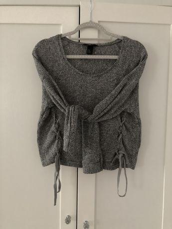 ZARA szary wiazany sweterek prazek 36 S