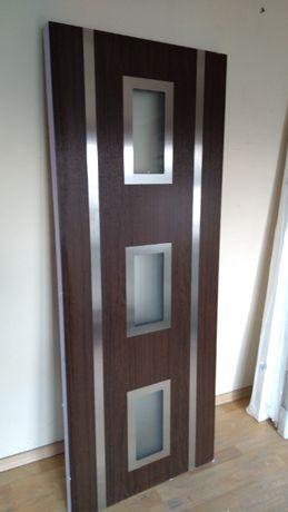 panel do drzwi pcv dąb bagienny szyby matowe