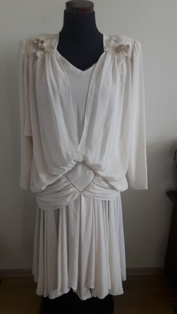 Suknia sukienka retro antyk ślub ecru USA