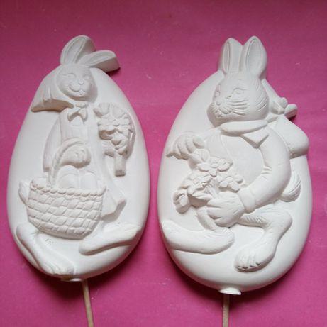 Zajączek wielkanocny w jajku 10 sztuk. Gipsowe figurki