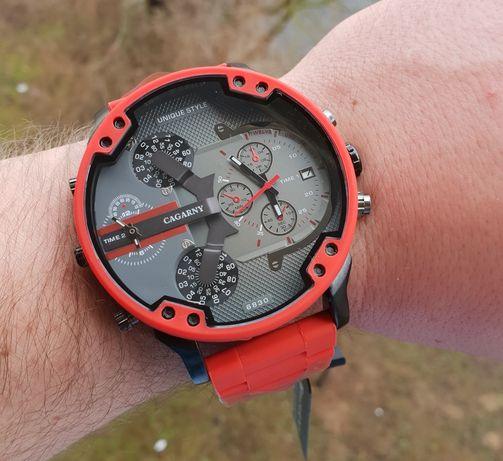 Czerwony zegarek męski srylizowany na Diesel