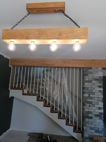 Lampa loft styl rustykalny, belka drewniana